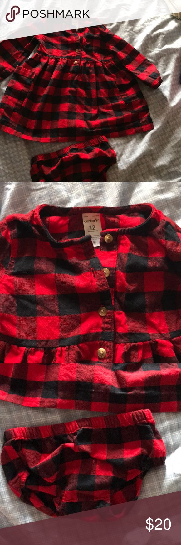 •Carters • Red Plaid Dress • Carters Red Plaid dress. Wore for about an hour for photos. Size: 12months  •100% Cotton  Washed with Dreft laundry detergent. Carter's Dresses
