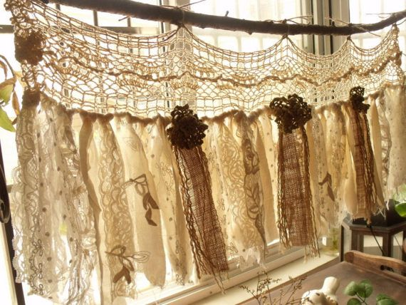 Custom Rustic Romantic Antique Lace Kitchen Valance Shabby