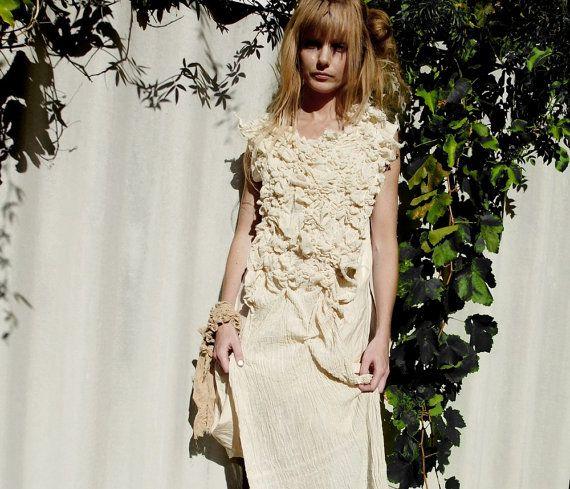 Sea Urchin Dress Textured Gathered Dress by RawHemline on Etsy, $134.00