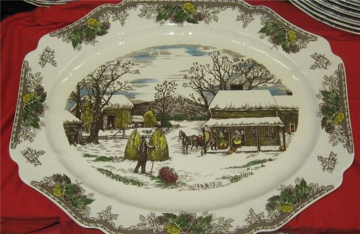 New NOS Made in ENGLAND Friendly Village Large Turkey Platter CHRISTMAS 20"