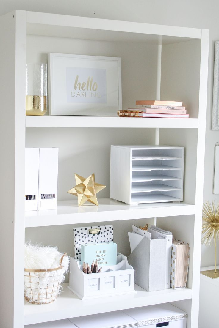 White with gold office looks very calming!