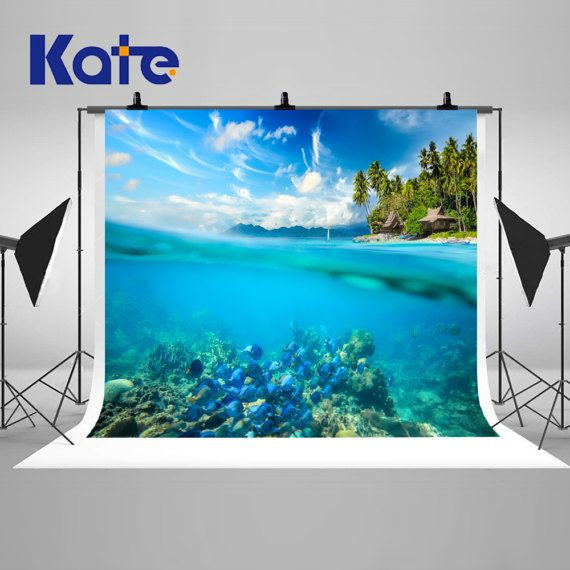 Tropical Ocean Underwater Photography Backdrops Sunny Sky Colorful Fish Backgrounds for Photo Studio Props