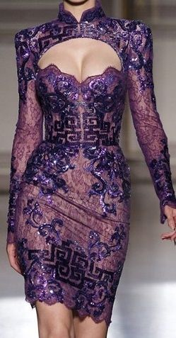 Zuhair Murad Fall/Winter 2011-2012 couture collection - inspired by the Chinese Empress Wu Zetian (武则天).  Purple Evening Cocktail