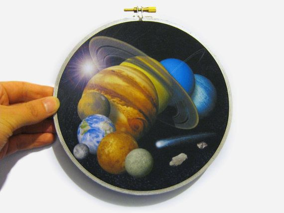 Solar System Montage in Embroidery Hoop. Solar by WordosaurusText, $20.00
