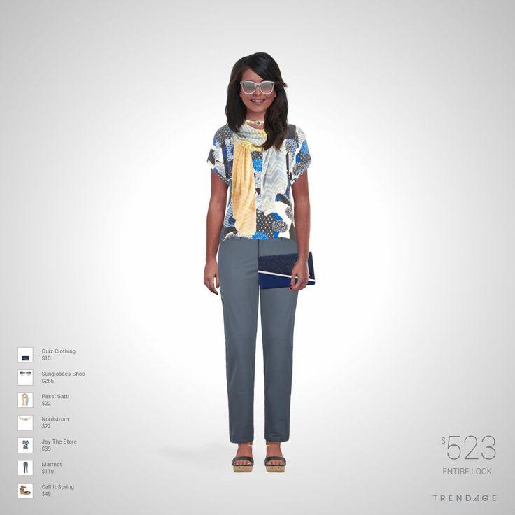 Roupa desenhada por Monica usando roupas de Marmot, Joy The Store, Nordstrom, Passi Gatti, Sunglasses Shop, Call It Spring, Quiz Clothing. Estilo feito através do Trendage.