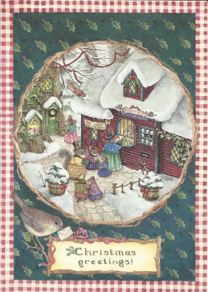HOLLY POND HILL SUSAN WHEELER BUNNIES POST OFFICE CHRISTMAS GREETING CARD
