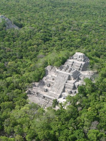 Mayans - aerial view of pyramid