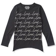 """Long sleeve jersey tee with a curved hem and """"love"""" print. #winterfashion #girls"""