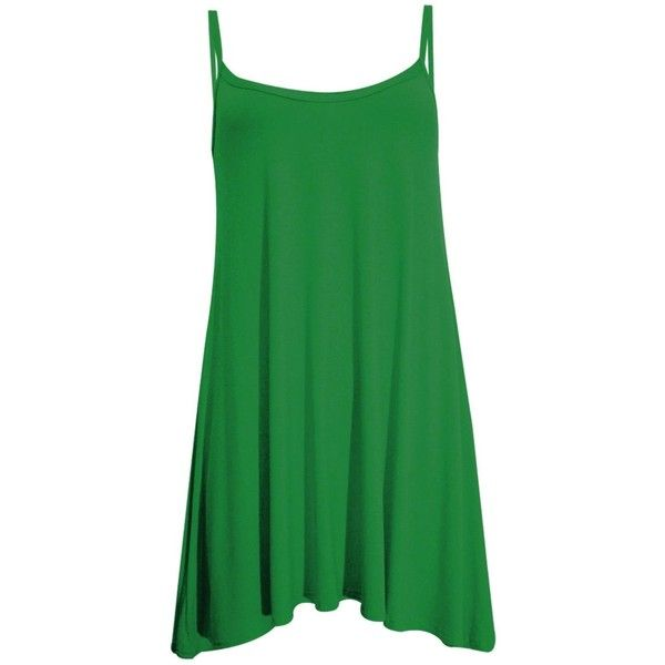New Womens Plus Size Cami Strappy Sleevless Long Swing Top Mini Dress... (€4,35) ❤ liked on Polyvore featuring dresses, green plus size dress, plus size purple dress, long purple dress, plus size camisoles and long camisole