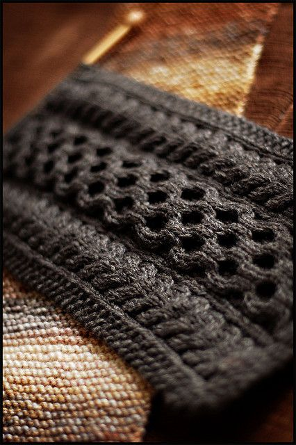 Making this one right now in a soft brown alpaca yarn.  It's called the Aran Cashmere Scarf, by Beth Walker-O'Brien.  Picture by Jared Flood.