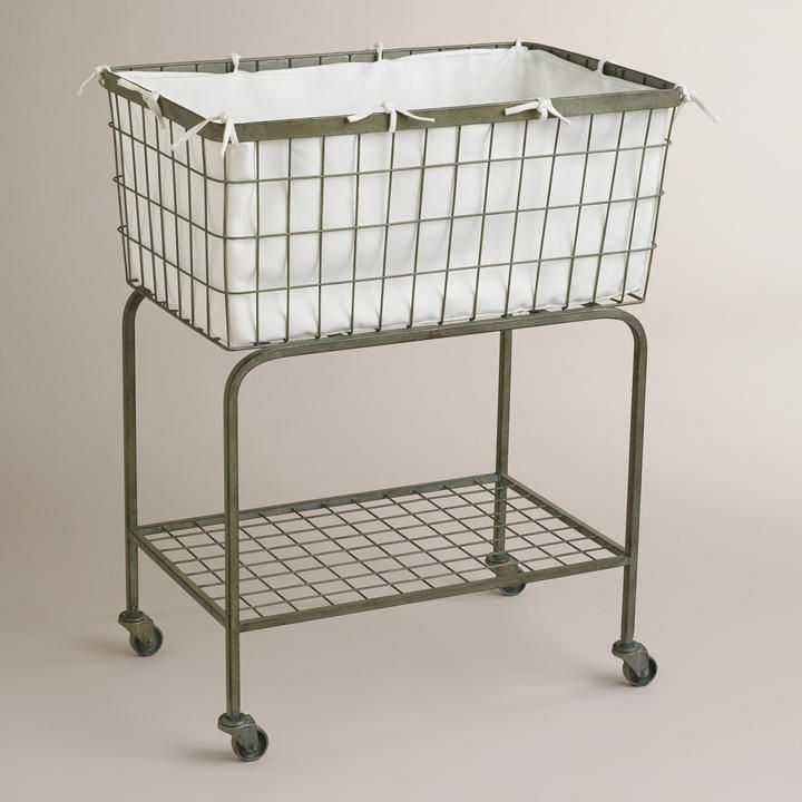 Rolling Laundry Cart. French Laundry Basket. Hamper. Chic. Modern Farmhouse Décor.