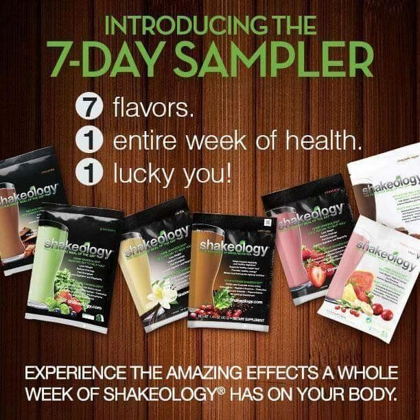 """Let's """"SHAKE"""" things up as we head into Spring with a 7 Day Shakeology Sampler Group!  If you've been curious about Shakeology but haven't been ready to commit, this is the group for you!   How does it work?  ** Purchase the Shakeology Sampler Pack containing one of each 7 Shakeology flavors. (Please order by 3/26)  **Drink Shakeology every day for 7 days. **You will be added to the FREE, private 7 day accountability group, where we will have daily check ins. **You will"""