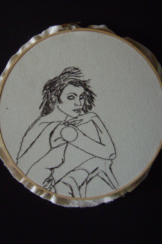 Hand Embroidered Artwork  Rooney  25cm by mynameisalice on Etsy, $50.00