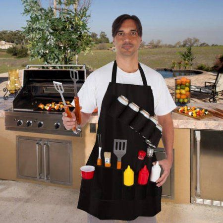 EZ Drinker Grill Master Grill Apron and Accessory, Holds Beverages and Tools, Black