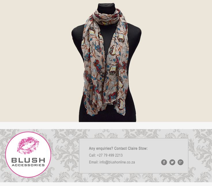 Be wise and turn heads in this super stylish owl print scarf. Available at #BlushSA #OwlPrint #stunning