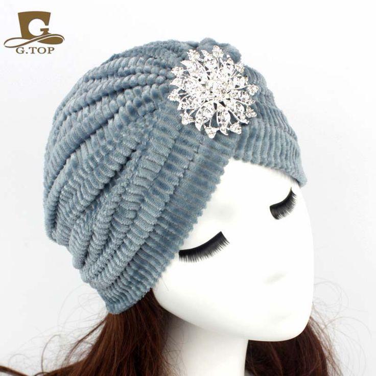 2016 Mới Thời Trang Phụ Nữ Kim Cương Jewel Turbante Stretch Nhung san hô Turban Headband Tuyệt Vời Hijab Hat Ấn Độ Cap Hat G-