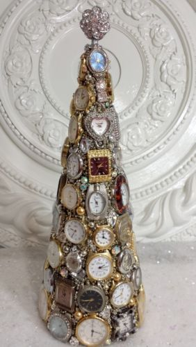 Vintage-CLOCK-Cone-Shape-Christmas-Tree-wrist-watches-lot-Rhinestones-Jewelry