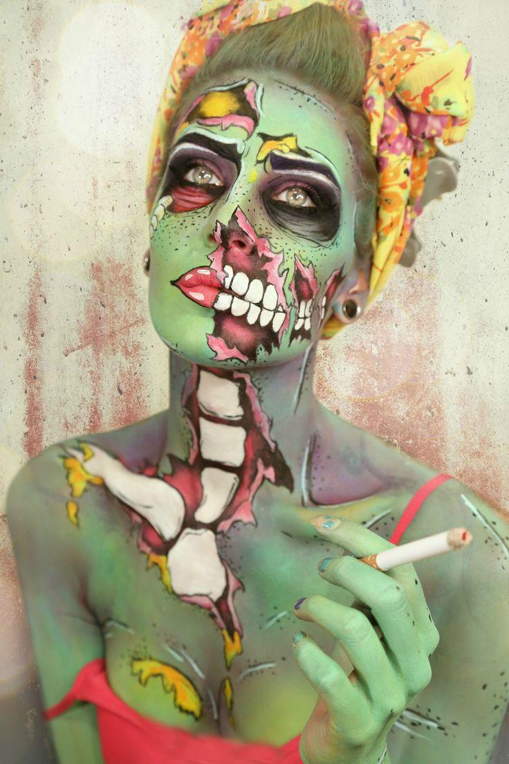 Maquillaje zombi verde hueso blanco musculo rojo cigarro pitillo amarillo pop art