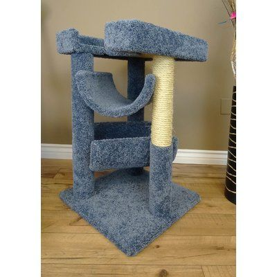 "New Cat Condos 33"" Premier Cat Scratching Tree Color: Blue"