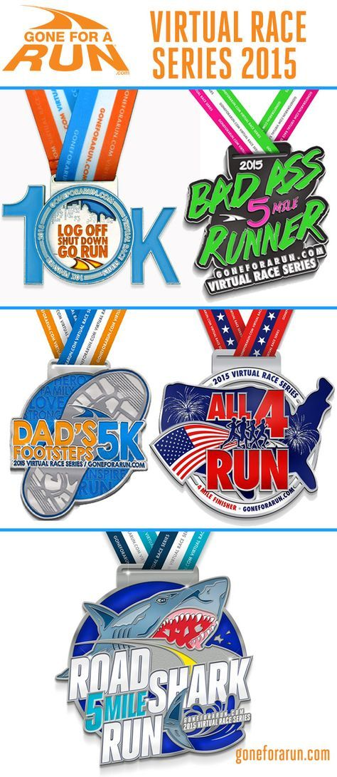 Virtual races by Gone For a Run. Runners love Gone For a Run virtual races because we have the best race themes, the best medals and by far the best swag. Click this pin to check out our next virtual races and sign up to run with us!