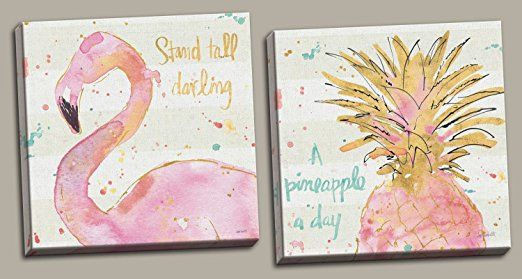 "AmazonSmile: Tropical Hot Pink and Gold Watercolor Flamingo and Pineapple ""Stand Tall Darling"" and ""A Pineapple a Day"" Set by Anne Tavoletti; Two 12x12in Distressed Framed Prints, Ready to Hang!: Posters & Prints"