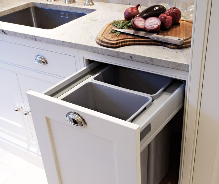 Tom Howley - kitchens - hidden garbage can, hidden garbage cabinet, pull out garbage can, garbage can cabinet, white kitchen cabinets, granite countertops,