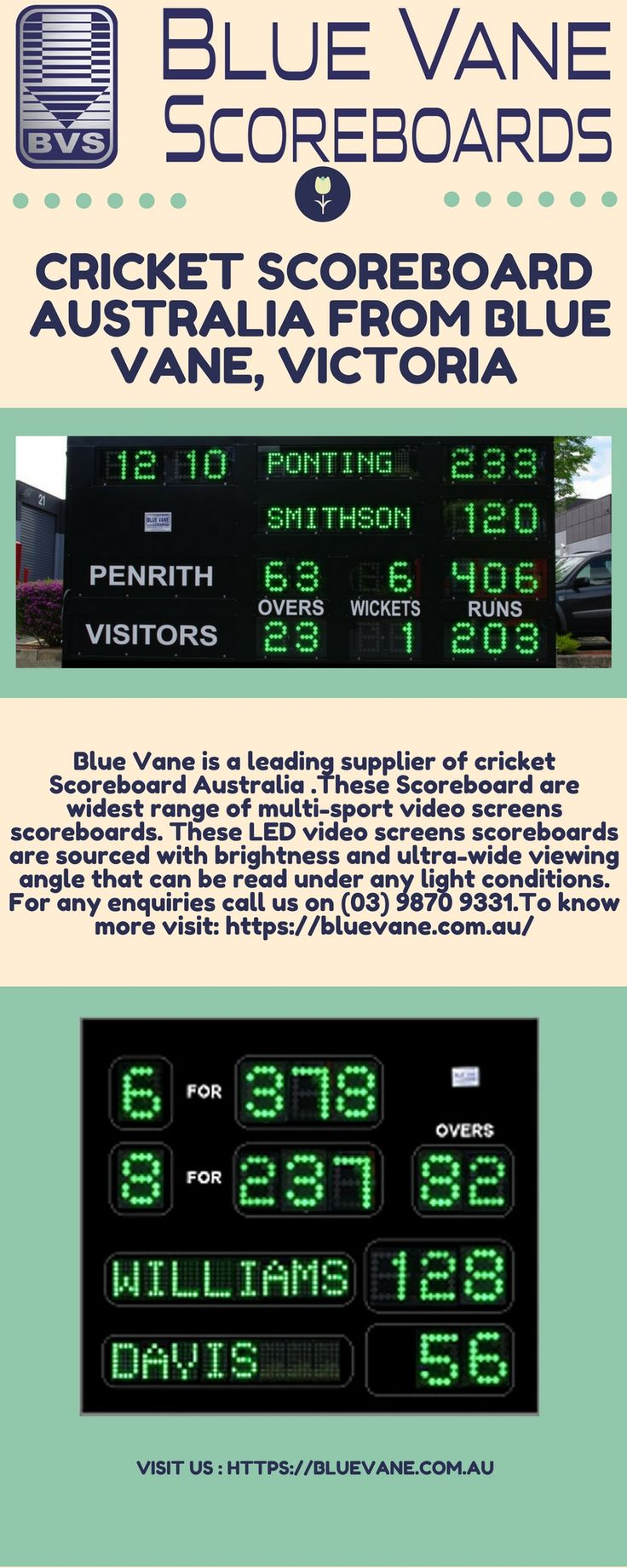 Blue Vane is a leading supplier of Cricket Scoreboard Australia. It is one of the most famous and large business which contains a large collection of indoor and outdoor products and also service installation. For any inquiries call us on (03) 9870 9331.For more details visit: https://bluevane.com.au/