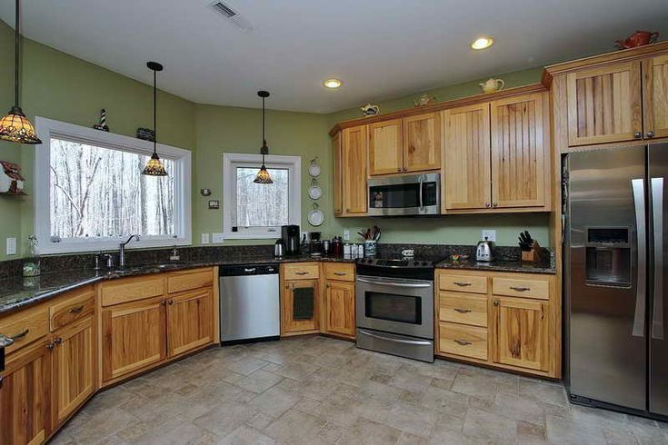 Hickory Kitchen Cabinets With Green Walls