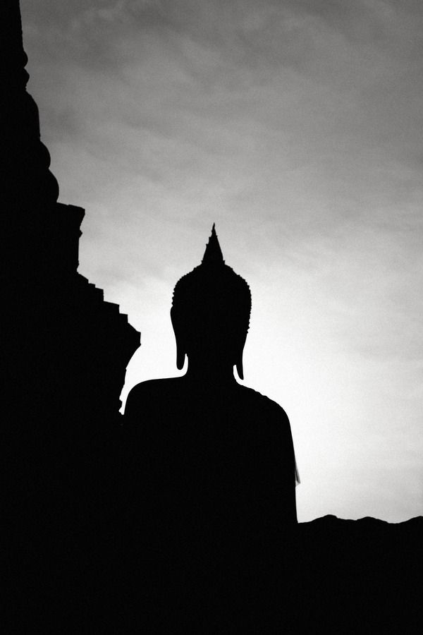 Buddha. Statue. Silhouette. Black and Gray.