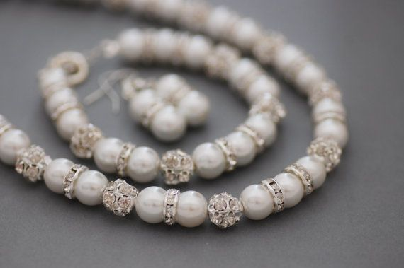 White Bridal Set SilverPlated White Pearl by CherryBlossomJewels0, £35.00