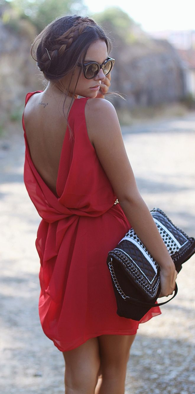 Red dress with draped back! Get into my closet NOW