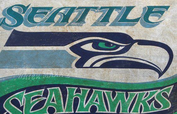 Seattle Seahawks   football  Print, & Mat,  art, sports decor,  football, wall hanging, vintage $15