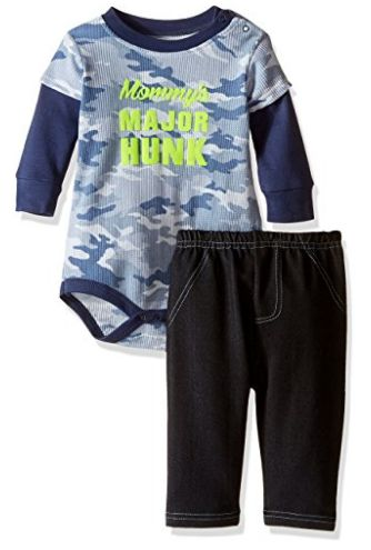 "BON BEBE Baby Boys"" 2 Piece Longsleeve Side Snap Bodysuit and Denim Pant Set As Low As $5.73!"
