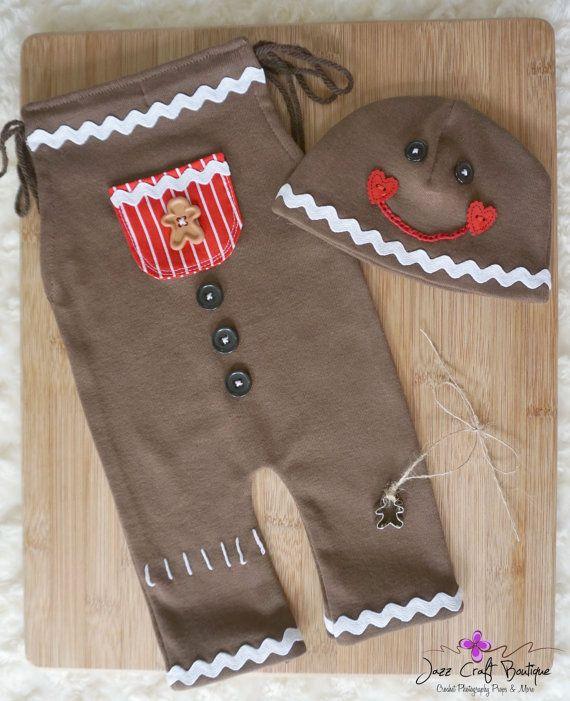 Newborn Gingerbread Man Romper Beanie & Wrist by JazzCraftBoutique
