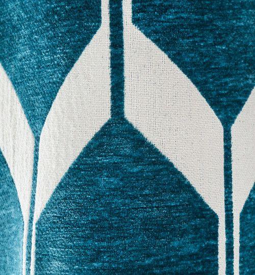 Rideau motifs bleu canard 140x300cm ASTON