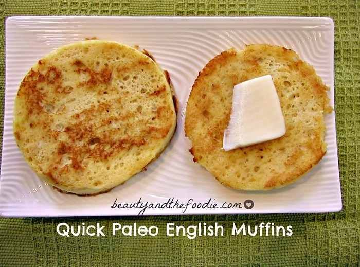 Paleo English Muffins~     1 Egg, beaten     1 Tbsp Milk of Choice: unsweetened Coconut Milk or Almond Milk, or organic half and half.     1 Tbsp Coconut Flour,      ½ Tbsp Melt grass Fed Butter or Coconut Oil,      ⅛ Tsp Baking Soda, ¼ Tsp Apple Cider Vinega * omit, but it won't rise much.     ⅛ Tsp  Vanilla Extract * optional,      ¼ Tsp Honey or ( 6 drops liquid Stevia for low carb) * Optional, can omit sweetener,      1 Pinch Sea Salt * optional