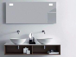 Mueble bajo lavabo doble suspendido de madera QUATTRO.ZERO | Mueble bajo lavabo doble - FALPER