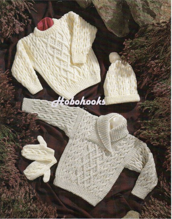 Baby / peuter / childrens aran truien / jumpers 2 stijlen, muts en wanten-16 tot 30 inch borst-breien patroon pdf instant download