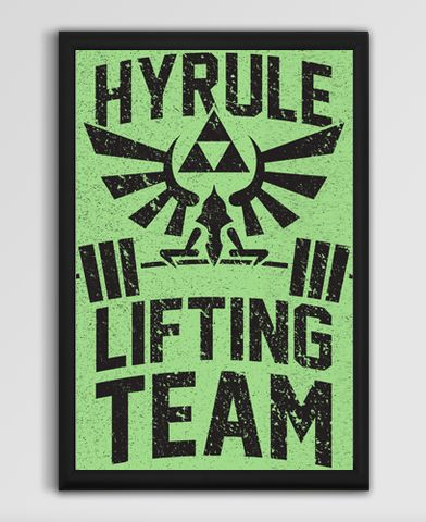 Hyrule Lifting Team on a 13x19' Poster FRAME NOT INCLUDED  The official print of The Hyrule Guard's lifting team. Stay Hylian fit with this awesome Zelda workout poster.