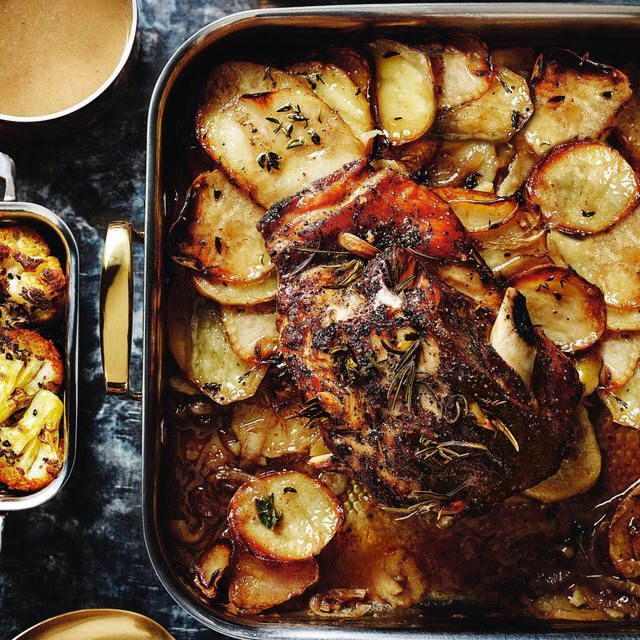 'One tray' Lamb Boulangere, a delicious recipe from the new Cook with M&S app.