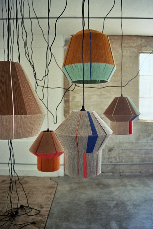 grouped pendant lights + yarn craft--Ana Kraš