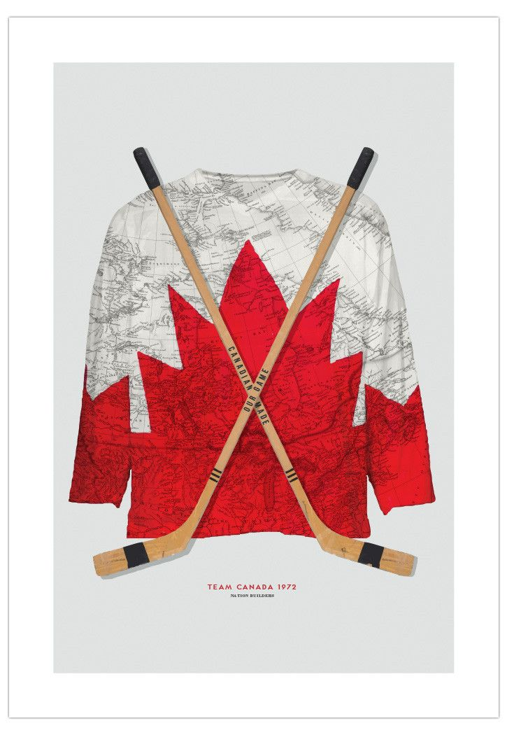 Heritage-inspired art poster design featuring the 1972 Team Canada jersey