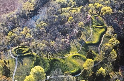 The Great Serpent Mound is an ancient earthwork located in Adams County, Ohio.  Shaped like a snake devouring an egg, the mound is 410 meters (1,330 feet long) and a meter tall (3 feet).  The undulating form of the snake has been tied to astronomical phenomena but it is unclear why it was built or what purposes (if any) it served.