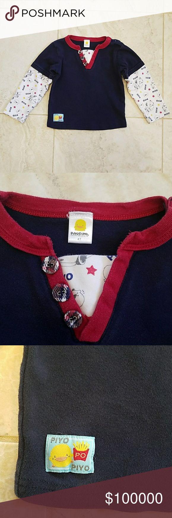 4T PIYO PIYO long sleeve shirt 4T PIYO PIYO long sleeve shirt. No stain or rip. It is inan exceelent condition.  100% cotton. PIYO PIYO Shirts & Tops Tees - Long Sleeve