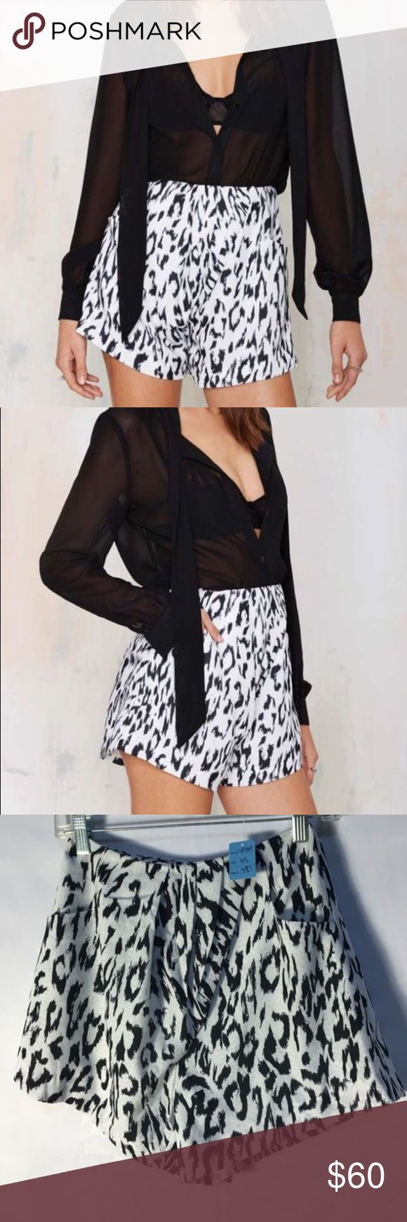 Finders Keepers NWT leopard shorts - XS Finders Keepers - NWT - white leopard shorts from Nasty Gal - high waist - XS - Tags: asos / nasty gal / tobi / Zara / clover canyon / Parker / bcbgeneration / bcbg / minkpink / nbd / for love & lemons / ASOS Shorts