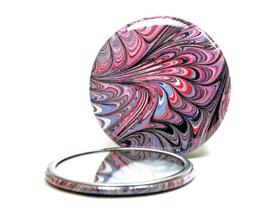 Marbled Pocket Mirror no.7  Faded Red White & by prossackdesigns