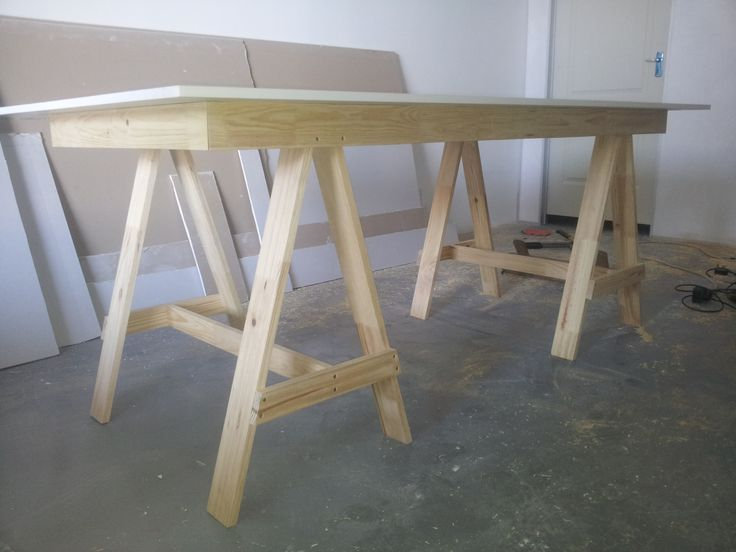 Pine A-Frame (workhorse) desk with white melamine top