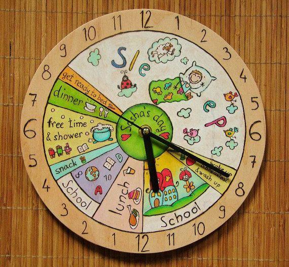 24h quotidienne horloge votre enfant par Beecreativebox sur Etsy