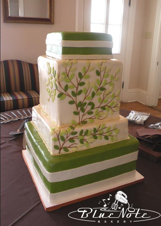 nature wedding cake - tree branch - square cake - green & ivory #wedding | Blue Note Bakery - Austin, Texas