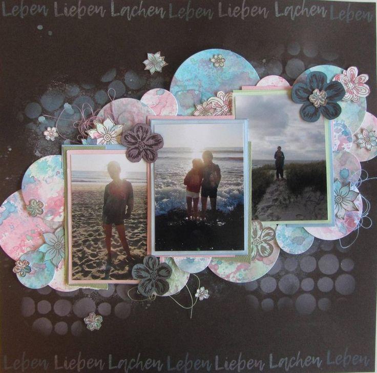 SF Stamps Lieben Leben Lachen, Layout gestaltet von Denise A. #SFStampsLiebenLebenLachen #DistressOxide #rosa #schwarz #Strand #Sand #ScrapbookForever #SFStempel